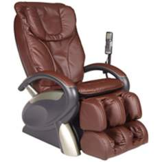 Brown Faux Leather Air Pressure Shiatsu Massage Chair