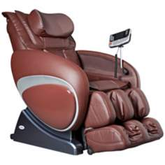 Brown Faux Leather Zero Gravity Shiatsu Massage Chair