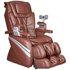 Brown Faux Leather Heated Shiatsu Massage Chair