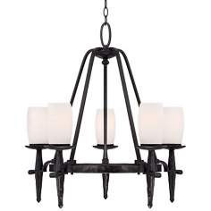 "Henryetta 26 3/4"" Wide Black with White Glass Chandelier"
