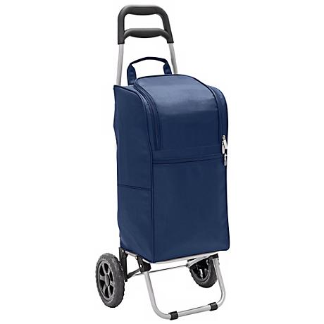 Picnic Time Navy Blue Insulated Cooler and Folding Cart