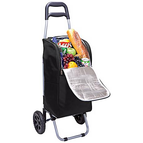 Picnic Time Black Insulated Cooler and Folding Cart