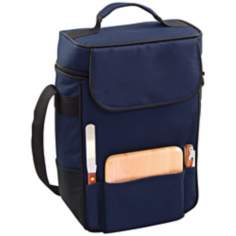 Picnic Time Duet Navy Wine Tote and Cooler