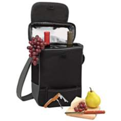 Picnic Time Duet Black Wine Tote and Cooler