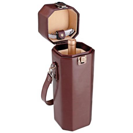 Picnic Time Sonata Mahogany and Tan Wine Case