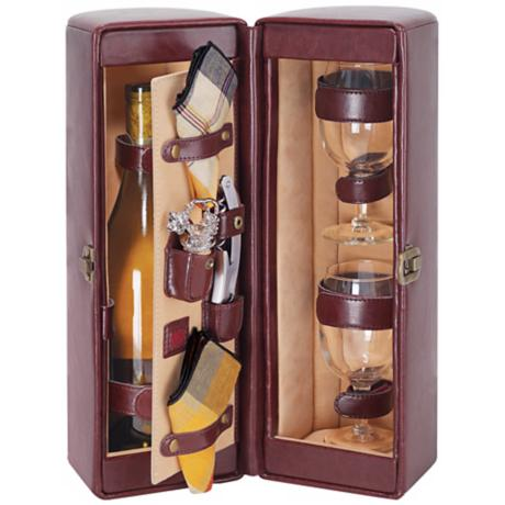 Picnic Time Harmony Burgundy Insulated Wine Case