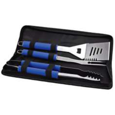 Picnic Time Metro Vista Blue BBQ Tool Set and Tote