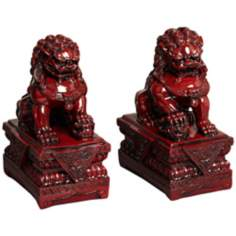 Set of 2 Red Asian Foo Dog Sculptures