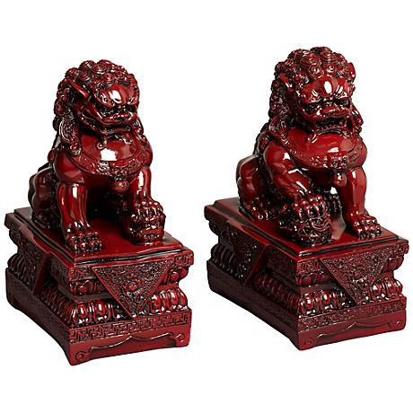 "Set of 2 Asian Foo Dog 9"" High Sculptures in Red"
