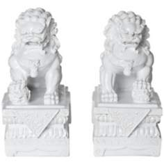 Set of 2 White Asian Foo Dog Sculptures