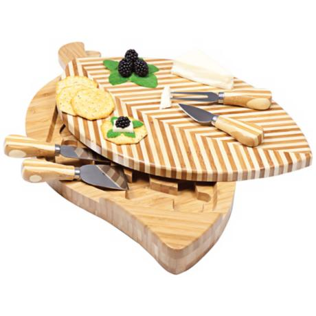 Picnic Time Leaf Bamboo Cheese Board Set with Tools