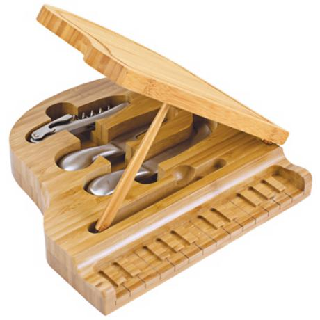 Picnic Time Grand Piano Wood Cutting Board and Tools