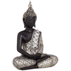 Black and Silver Sitting Buddha Sculpture
