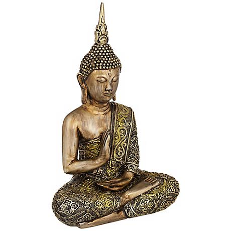 "Sitting Buddha 14 1/2"" High Sculpture in Gold"