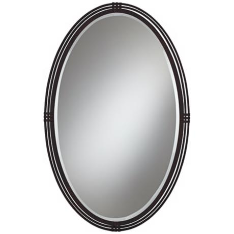 "Oberron Bronze Metal 38"" High Oval Wall Mirror"