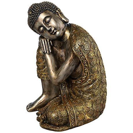 "Brushed Gold 14 1/2"" High Sleeping Buddha Statue"
