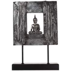 Silver Framed Sitting Buddha on Stand