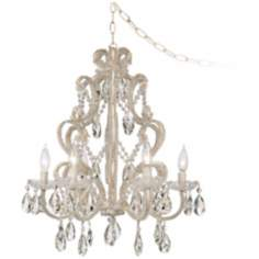 "Felician 22"" High Gold and Crystal Swag Chandelier"