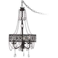 Drake Collection Beaded 3-Light Dark Rust Chandelier