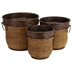 Set of 3 Metal and Wicker Planters