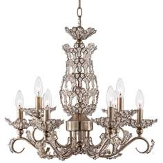 "Beaded Silver Leaf 22"" Wide Crystal Chandelier"