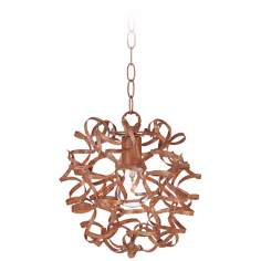 "Woody Flourish 12"" Wide Metal Curls Pendant Light"