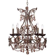 "Crystal Parlor 22"" Wide Amber Glass Chandelier"