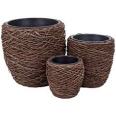 Set of 3 Natural Circular Planters