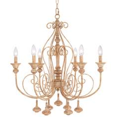 "Kingston 26"" Wide Aged Beige Chandelier"