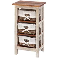 Solid Wood and Rattan 3-Drawer Cabinet