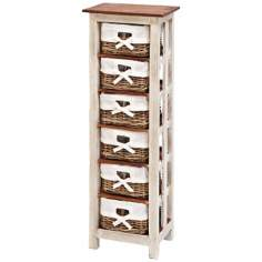 Solid Wood and Rattan Tall Cabinet