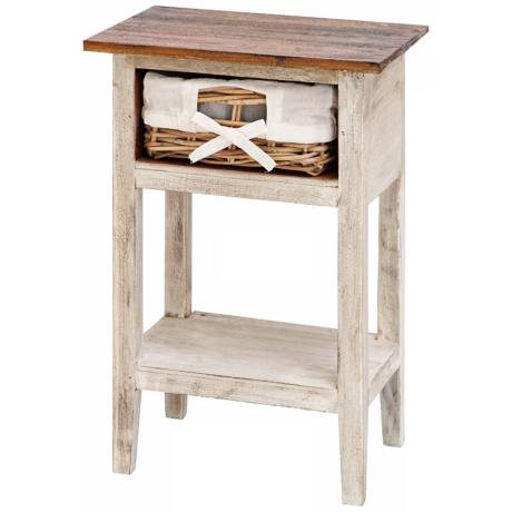Solid Wood and Rattan Single Drawer Accent Table