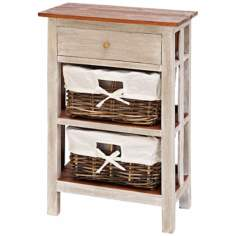 Solid Wood and Rattan 3-Drawer Accent Table