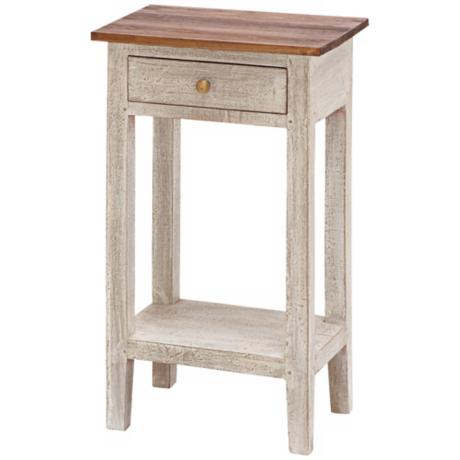 Single Drawer Antique White Solid Wood Table