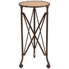 Criss Cross Metal and Wood Accent Table on Casters