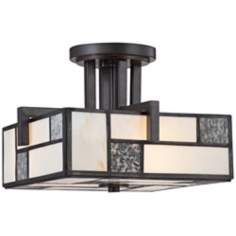 "Bradley 13 1/2"" Wide Charcoal Art Glass Ceiling Light"