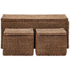 Set of 3 Maize Rope Outdoor Storage Trunks
