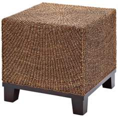 Maize Rope and Wood Outdoor End Table