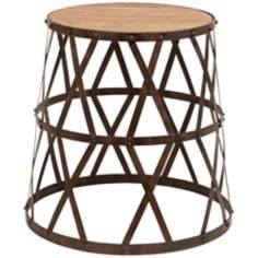 Criss Cross Metal and Wood Stool