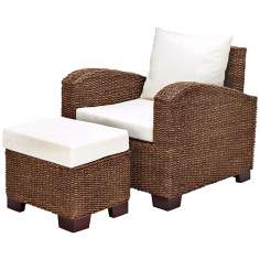 Set of 2 Maize Rope and Wood Outdoor Chair with Stool