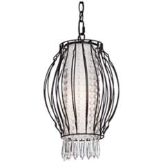 "Artcraft Madeline 9"" Wide Black Crystal Pendant Light"
