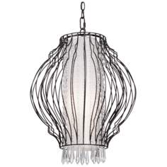 "Artcraft Madeline 15 1/2"" Wide Black Crystal Pendant Light"