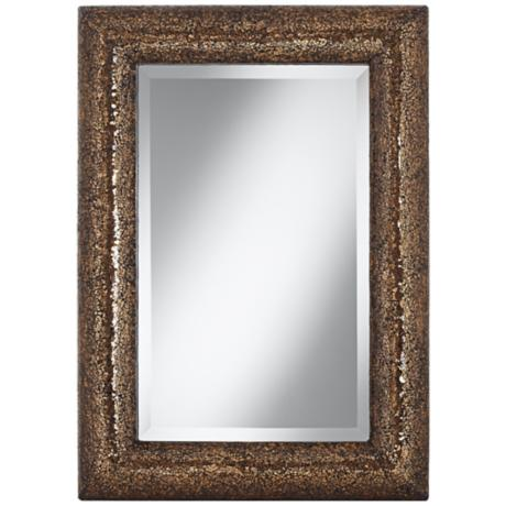 "Bronze 33"" Crackled Glass Mosaic Wall Mirror"
