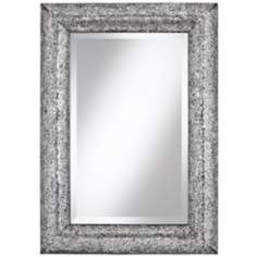 "Crackled Glass 33"" High Silver Mosaic Wall Mirror"
