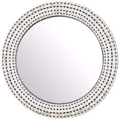 "Round 33 1/4"" High Checkered Sea Shell Mosaic Wall Mirror"
