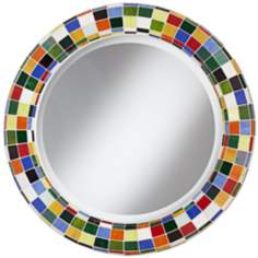 "Checkered Colors 33 1/4"" High Mosaic Round Wall Mirror"