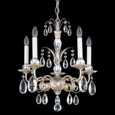 "Schonbek Crystal Emperio 17"" Wide Antique Silver Chandelier"
