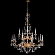 "Schonbek Crystal Emperio 36"" Wide French Gold Chandelier"