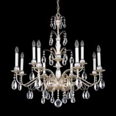"Schonbek Crystal Emperio 30"" Wide Antique Silver Chandelier"