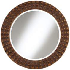 "Weiden Raised Relief 32"" Wide Bronze Wall Mirror"